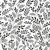 Seamless floral black and white background