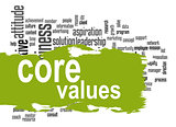 Core values word cloud with green banner