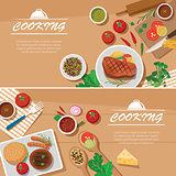 cooking banner flat design template