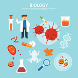 biology background education concept flat design