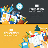 education and back to school banner concept flat design