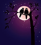Romantic card with birds