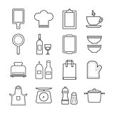 thin line icon set kitchen and cooking