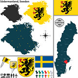 Map of Sodermanland, Sweden