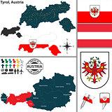 Map of Tyrol, Austria