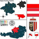 Map of Upper Austria, Austria