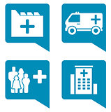 medical blue icon set