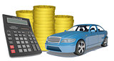 Piles of gold coins with car and calculator