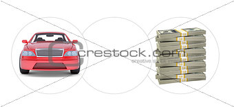 Car with bundle of money and empty circle