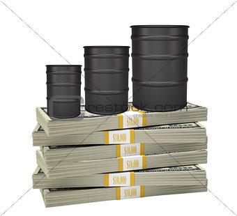 Oil barrels on bundle of money
