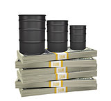 Oil barrels on stack of money