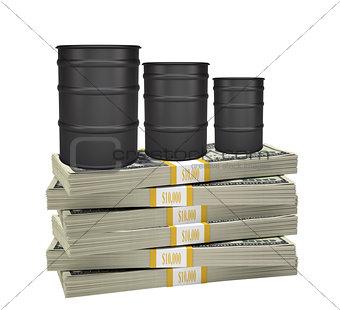 Oil barrels on stack of money