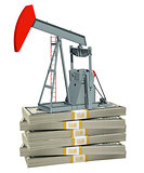 Pump jack on stack of money