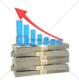 Growth graph on stack of money