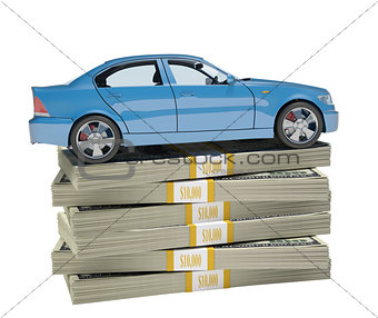 Car on bundle of money