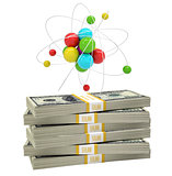 Atom structure on stack of money