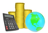 Piles of gold coins with Earth and calculator