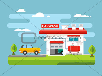 Car wash flat illustration