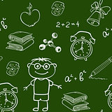 School seamless pattern on a chalkboard