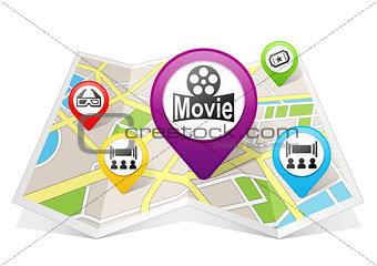 Cinema Map pointer Location Destination on map