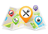 Restaurant and Cafe Bar Map pointer Location Destination on map