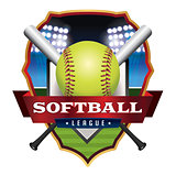 Softball League Emblem Illustration