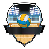 Volleyball and Court Badge Illustration