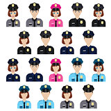 Set of policemen icons.