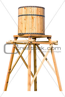 Antique wooden water tower with steel ring