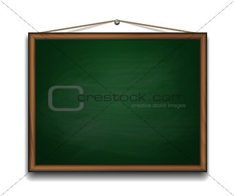 Green chalkboard in wooden frame.