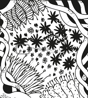 Background with hand drawn patterns. Curls, celtic ornament, flowers
