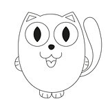 Funny fatty cat, coloring book page