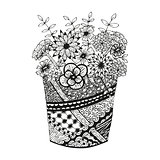 Vase with doodling hand drawn flowers and patterns