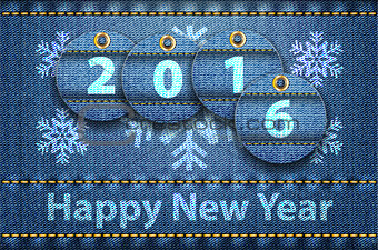 2016 year digits and Happy New Year greetings