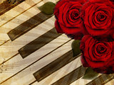 Music background with roses