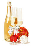 Champagne sparkling wine and new year composition