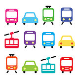 Transport, travel vector icons set isolated on white