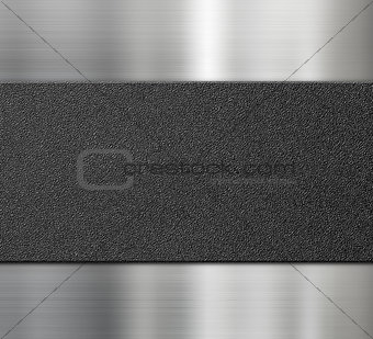black plastic plate over metal background