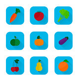 Set of flat icons - fruits and vegetables