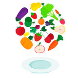 plate with fresh vegetables and fruits