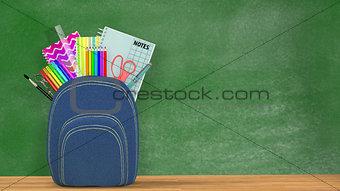 Back to school. A blue Satchel full of school supplies