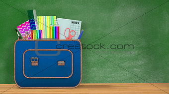 Back to school. A vintage backpack full of school supplies