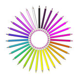 Set of coloured pencil. Pencils are aligned in a circle shaped and sorted