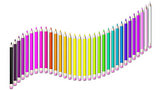 Set of coloured pencil. Pencils are aligned following a wave and sorted