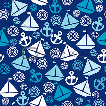 Cartoon seamless pattern with sail boats, anchors and stylized s