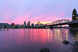 Pink Sunset over Portland Oregon Skyline