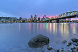Portland Skyline along Willamette River at Dusk