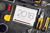2016, New Year Resolutions Craftsman Workshop Concept