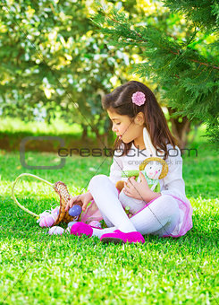 Little girl playing game