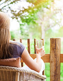 Calm woman relaxing outdoors